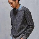 Obey- Men's Gray Loner Houndstooth Sweater Large L Crew/Layering NWT