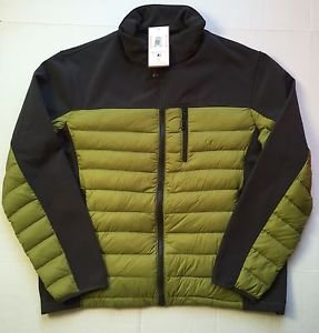 Hawke & Co Hybrid Down/Fleece Jacket Mens XL Solid Gray/Charcoal/Green $195 NWT