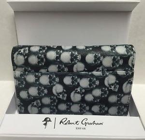 ROBERT GRAHAM Leather Skull Apple iPhone 5 5S 5SE WalletCase Credit Card ID $108