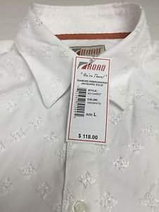ROAD Apparel-Diamond Embroidered Jacquard Mens Shirt L $118 NWT -Limited Edition
