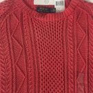 POLO RALPH LAUREN SWEATER CORAL Red FISHERMAN CABLE 100% COTTON Medium NWT$265