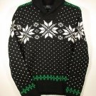 Polo Ralph Lauren Snowflake Shawl Sweater - Black - Medium $225 NWT