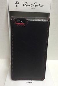 ROBERT GRAHAM Leather Black Apple iPhone 5 5S 5SE WalletCase Credit Card ID $108