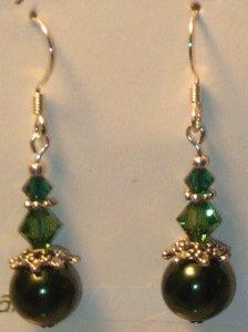 ELEGANT SWAROVSKI CRYSTAL BEAD & GREEN GLASS PEARLS EARRINGS