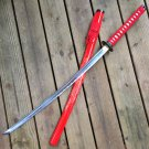"SAMURAI SWORD KATANA HAND FORGED 41"" CARBON STEEL BLADE W/ DRAGON RED"