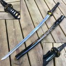 "SAMURAI SWORD KATANA HAND FORGED 41"" CARBON STEEL BLADE W/ DRAGON BLACK"