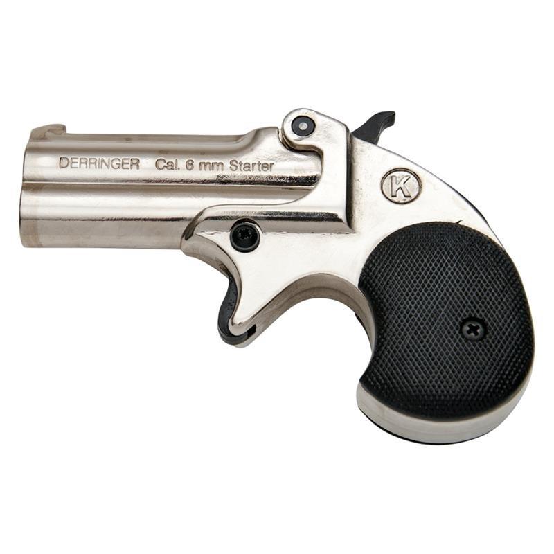 BLANK FIRING GUN DERRINGER KIMAR OLD WEST REPLICA .22 CALIBER NICKEL FINISH