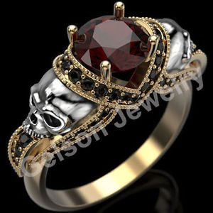 1.75 Ct Round Cut Two Skull Two Tone Engagement Ring In 14K White & Yellow Gold