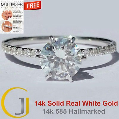 1.25 Cts Round Solitaire Six Claw Pave Engagement Ring 14k Solid Real White Gold