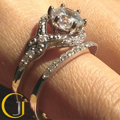 2.50 Ct Vintage Floral Nature Inspired Wedding Ring set 10k White Gold Size 9.75