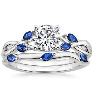 1.25 Ct Nature Inspired Round Cut Blue Sapphire Wedding Ring Set 14k White Gold