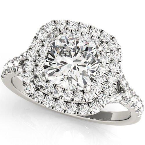 1.20 TCW Two Tone Cushion Double CZ Halo Engagement Ring 10 K White Gold