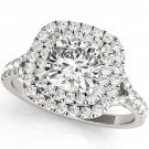 1.20 TCW Two Tone Cushion Double CZ Halo Engagement Ring 10 K White Gold