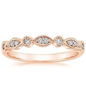 Round Brilliant Cut Natural Diamond Half Eternity Wedding Band Solid Rose Gold