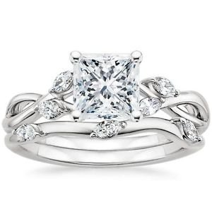 1.65 Ct Nature Inspired Princess Cut Engagement Wedding Ring Set In White Gold