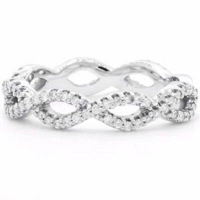 0.39 Ct G-H SI Round Cut Eternal Twist Diamond Wedding Ring 10k Solid White Gold
