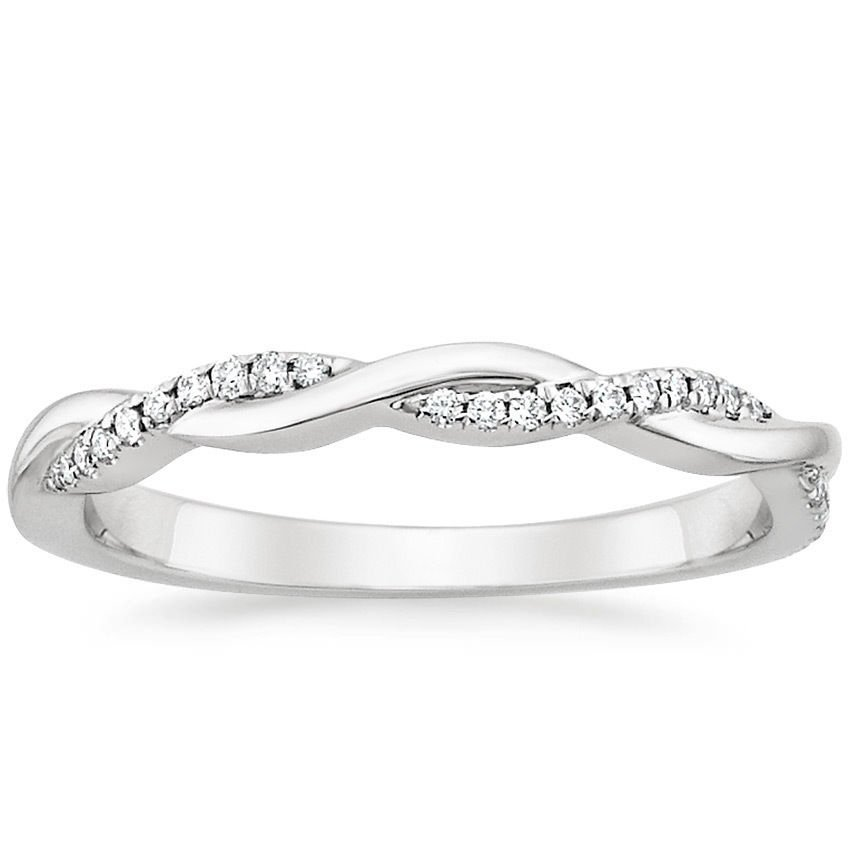 0.13 Cts Nature Inspired Twisted Vine Half Eternity Wedding Band 14k White Gold