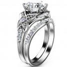 2.50 Ct Vintage Floral Nature Inspired Wedding Ring sets In 10k White Gold