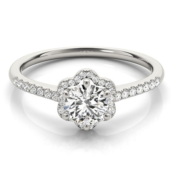 0.65 Ct Petite Floral Halo Cathedral Engagement Ring In 10K Solid White Gold