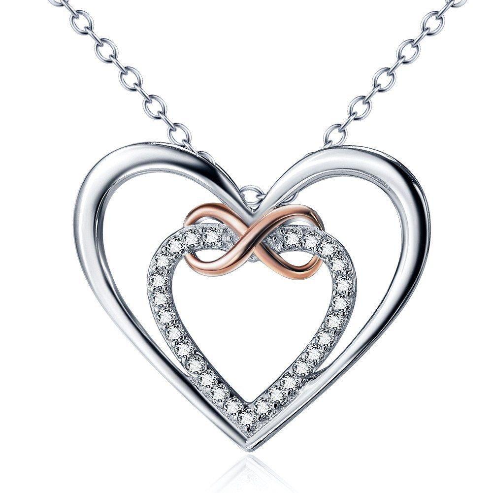 0.11 Ct G-H SI Diamond Infinity Double Hearts Pendant Two Tone 14K White Gold