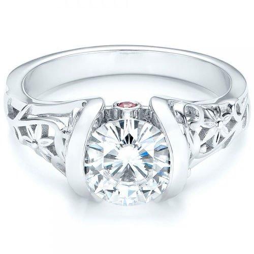 2.00 Cts Tapered Shank Half Bezel Floral Vintage Engagement Ring 14K White Gold