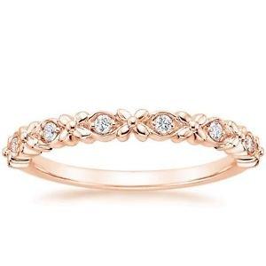 0.08 Ct Round Cut Gardenia Diamond Half Eternity Band In 10K Solid Rose Gold