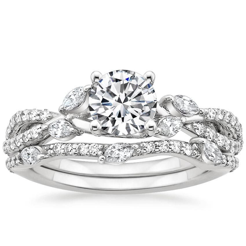 1.70 Ct Round Solitaire Luxe Willow Wedding Ring Sets In 18K solid white gold