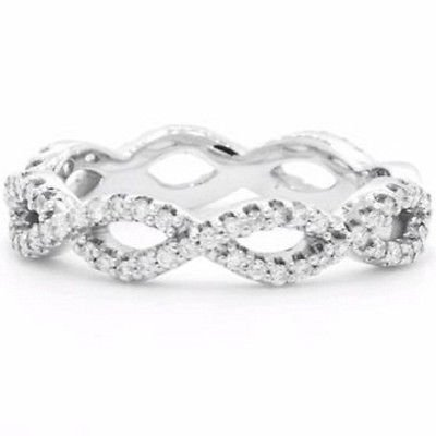0.39 Ct G-H SI Round Cut Eternal Twist Diamond Wedding Ring 14k Solid White Gold