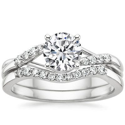 1.00 ct Solitaire Entwine Nature Inspired Wedding Ring Sets 10k white gold