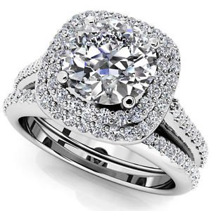 1.50 Tcw Round Solitaire CZ Double Halo Bridal Ring Sets 10K Solid White gold