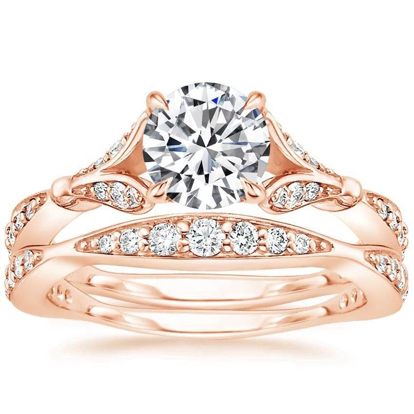 1.40 Tcw Nature Inspired CZ Round Solitaire Wedding Ring Sets In 10k Rose Gold