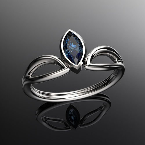 7 x 3.5 mm Blue Sapphire Marquise Bezel Solitaire Engagement Ring 18K White Gold