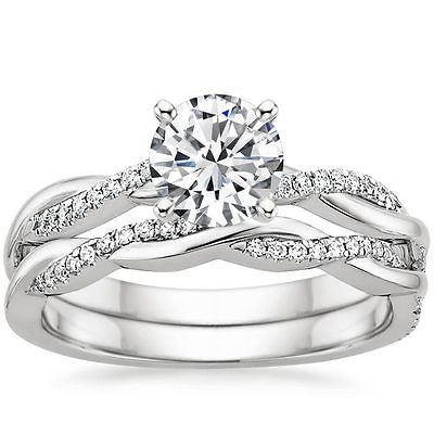 1.05 Tcw Round Solitaire CZ Petite Twisted Vine Wedding Ring Sets 10k White Gold