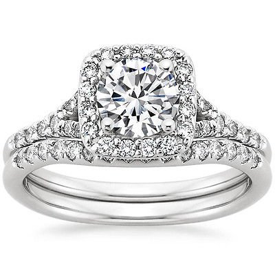 1.25 Tcw Halo Round Cut Scalloped Pave Bridal Wedding Ring Set In 10k White Gold