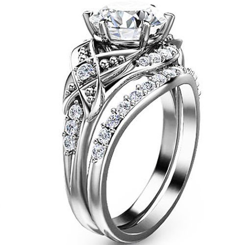 2.50 Tcw Vintage Floral Nature Inspired CZ Wedding Ring sets in 14k White Gold