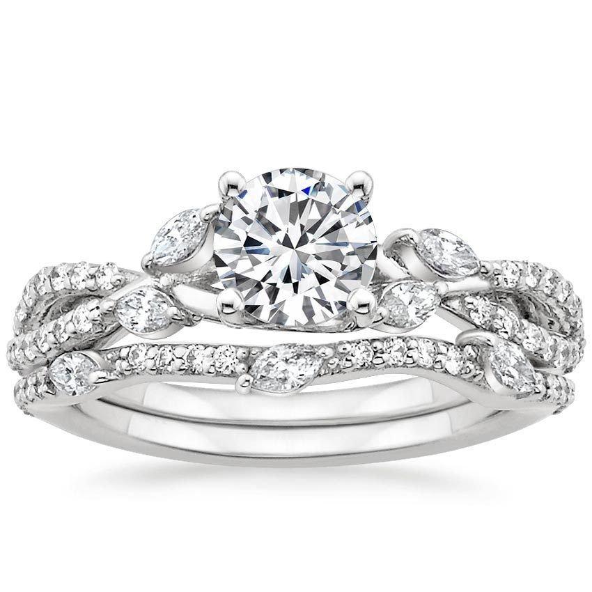 1.70 Ct F-G VVS Natural Diamond Semi Mount Wedding Ring Set In 18K white gold