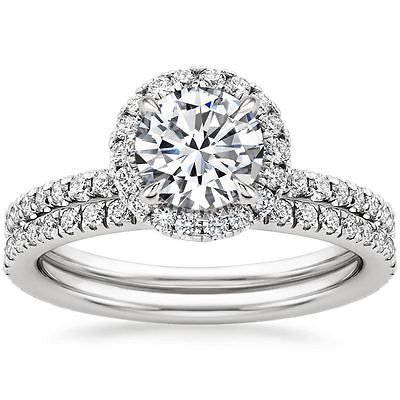 1.50 Tcw Round Cut Solitaire Halo Waverly wedding Matched set 10k white gold