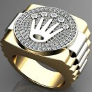 0.60 Ct G-H SI Two Tone Hip Hop Crown Style Men's Ring 14k White and Yellow Gold