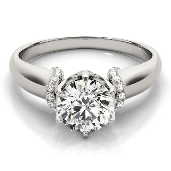1.00 Tcw Contour Crown with CZ Shoulder Round Engagement Ring In 18k White gold