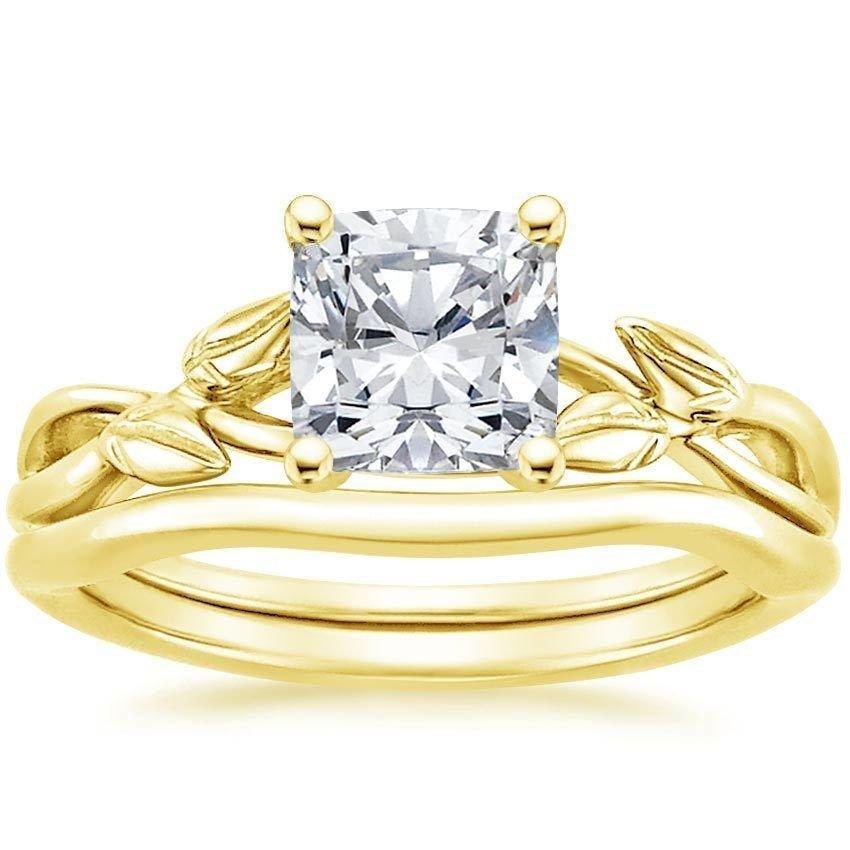 1.20 Tcw Cushion Cut CZ Budding Willow Bridal Wedding Ring Set 14k Yellow gold