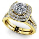 1.50 Tcw Round Solitaire CZ Double Halo Bridal Ring Sets 14K Solid Yellow gold