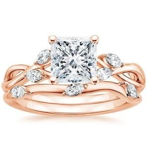 1.65 Ct Nature Inspired Princess Cut Engagement Wedding Ring Set In Rose Gold