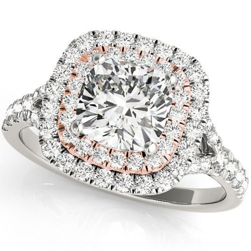 1.20 Tcw Two tone Cushion Cut Double Halo CZ Engagement ring 18k White Rose gold