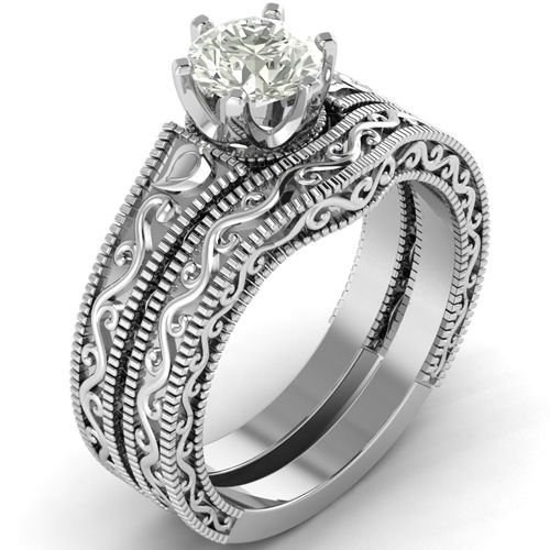 0.80 Tcw Antique Round Solitaire Vintage Wedding Ring Sets 10k Solid White Gold