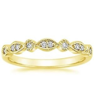Round Brilliant Cut Natural Diamond Half Eternity Wedding Band Solid Yellow Gold
