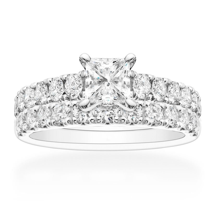 2.00 Tcw Princess and Round Cut CZ Engagement And Wedding Ring Set 14K W Gold