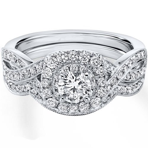 0.90 Tcw Round Cut Halo twist CZ Engagement And Wedding Ring Set 18K White Gold