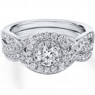 0.90 Tcw Round Cut Halo twist CZ Engagement And Wedding Ring Set 18K White Gold