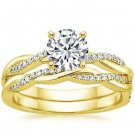 1.05 Tcw Round Solitaire CZ Petite Twisted Vine Wedding Ring Set 10k Yellow Gold