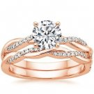 1.05 Tcw Round Solitaire CZ Petite Twisted Vine Wedding Ring Set 18k Rose Gold